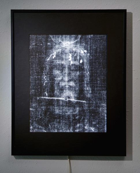 Backlit DuraTrans Transparency of the Shroud Face in a PhotoGlow® Frame