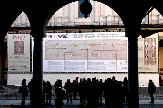 The largest Shroud image in the world on display in Novara, Italy