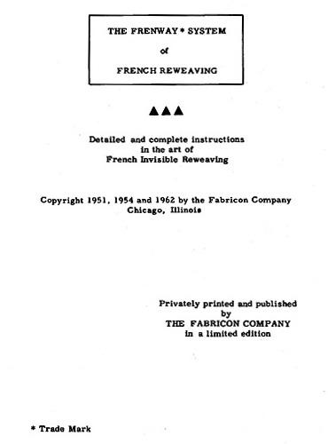 French Invisible Reweaving Book Title Page