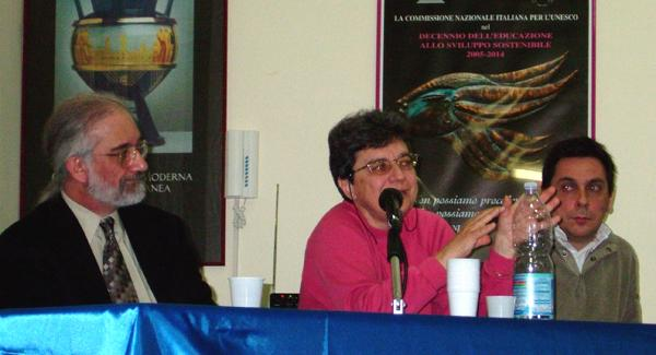 Barrie Schwortz, Emanuela Marinelli and Alessandro Malantrucco speak at the conference in Terracina